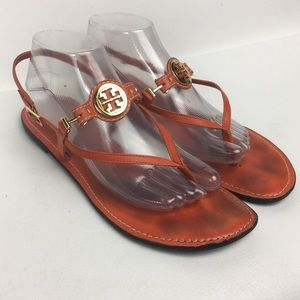 TORY BURCH Sz 9 Orange Thong Ankle Strap Sandals